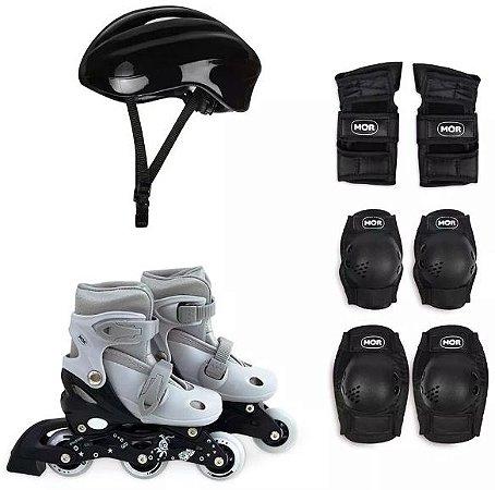 patins roller infantil ajustável número 31 ao 34 com kit proteção