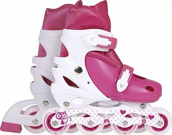 Patins Roller Row Infantil Rosa Regulável Do 34 A 37 Mor