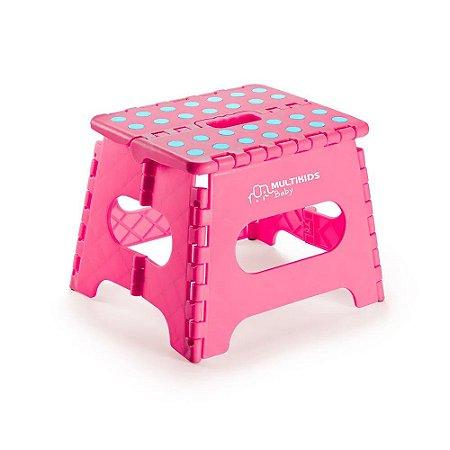 Banquinho Plástico Infantil Banco Dobrável Rosa