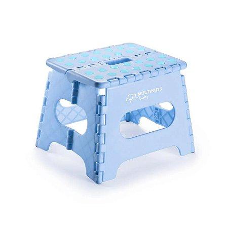 Banquinho Plástico Infantil Banco Dobrável Azul