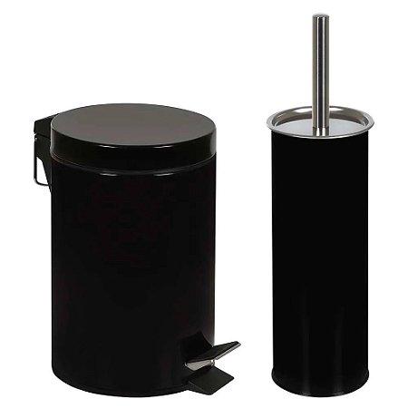 Kit lixeira 3l com pedal e escova vaso sanitário preta mor