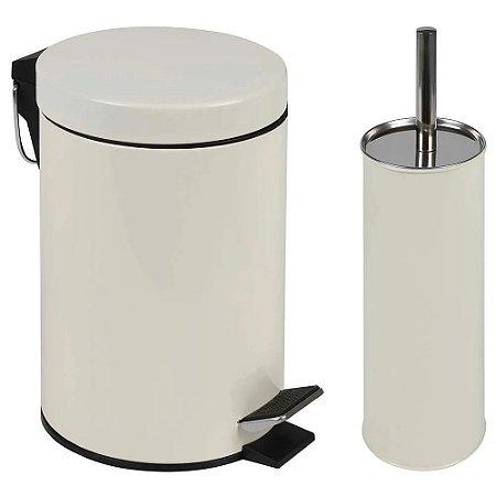 Kit lixeira 3l com pedal e escova vaso sanitário bege mor