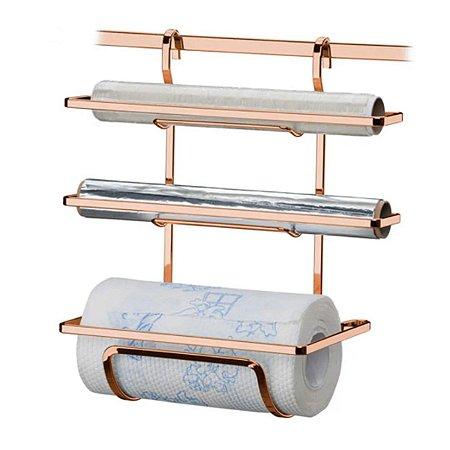 Suporte Porta Papel Toalha Aluminio Cozinha Rose Gold