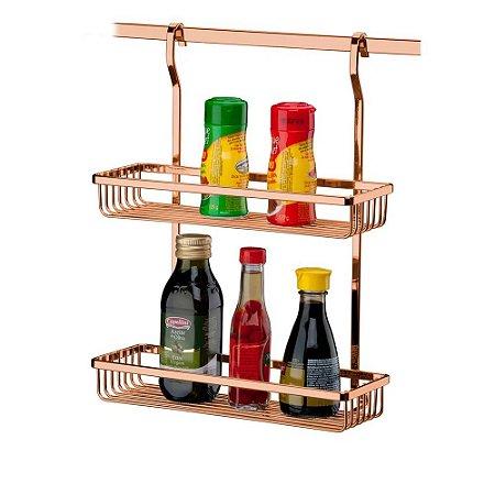 Suporte Porta Condimentos Duplo Para Pendurar Rosé Gold