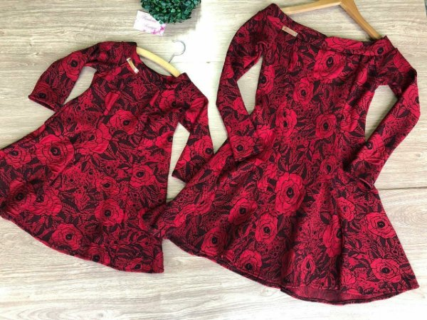 Vestido Mãe e Filha em Jacquard Manga Longa (kit)