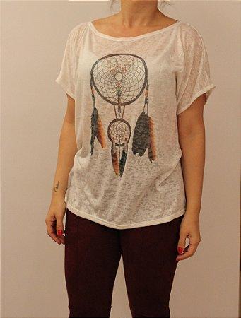 T-shirt manga curta com estampa Filtro dos sonhos