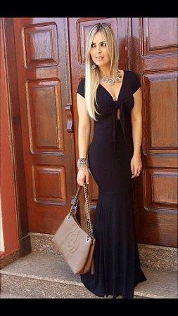 Vestido longo sereia preto divino PLUS SIZE (Veste manequim 42 ao 46)