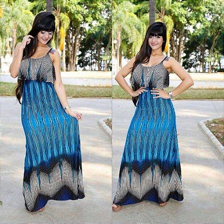 Vestido longo sereia com estampa maravilhosa em tons de azul