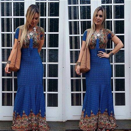 Vestido longo sereia azul com estampa divina