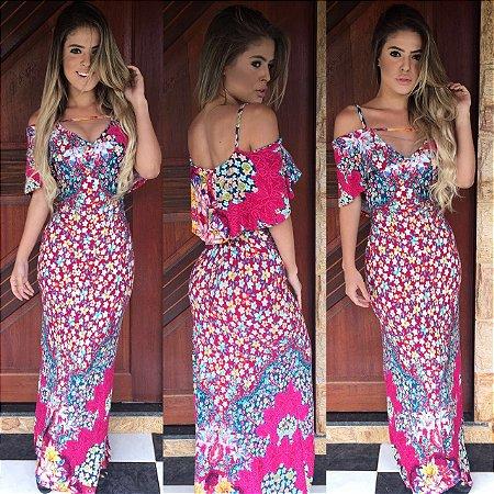 Vestido sereia simplesmente divino . Estampa com tons de rosa deslumbrante