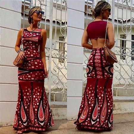 Vestido longo sereia com estampa vermelha diva . Maravilhoso :)