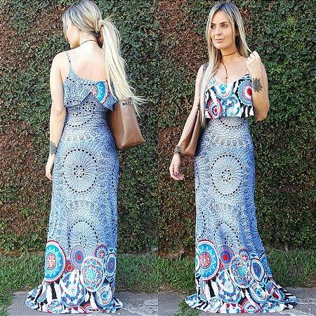 Vestido longo sereia com estampa mandala blue