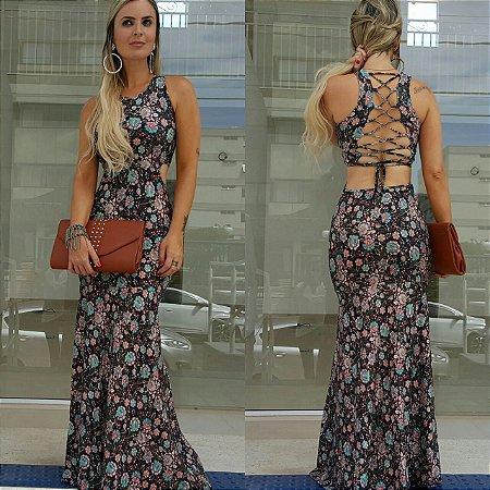 Vestido longo sereia deslumbrante com amarração nas costas