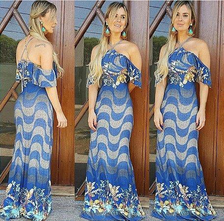 Vestido longo sereia estampa copacabana blue