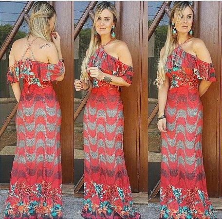 Vestido longo sereia estampa copacabana red
