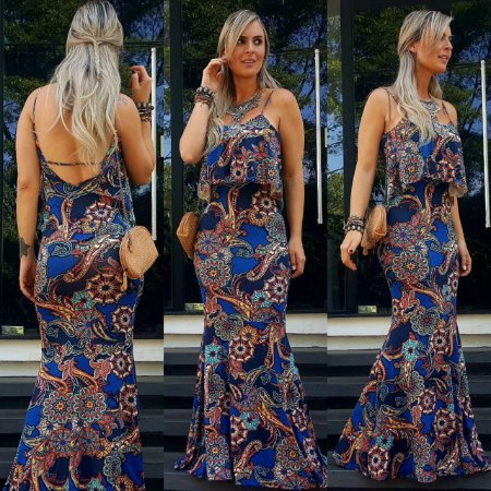 Vestido longo sereia estampa mega linda azul floral