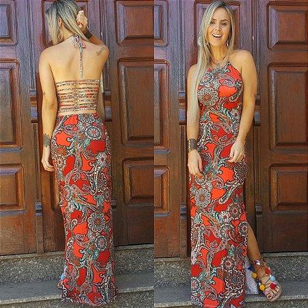 Vestido longo vermelho estampado muito lindo com tiras nas costas