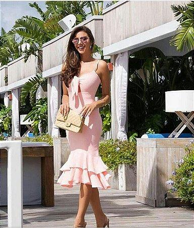 Vestido longo em crepe na cor rosê com bojo