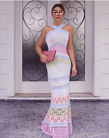 Vestido longo em tricot color2 . Deslumbrante