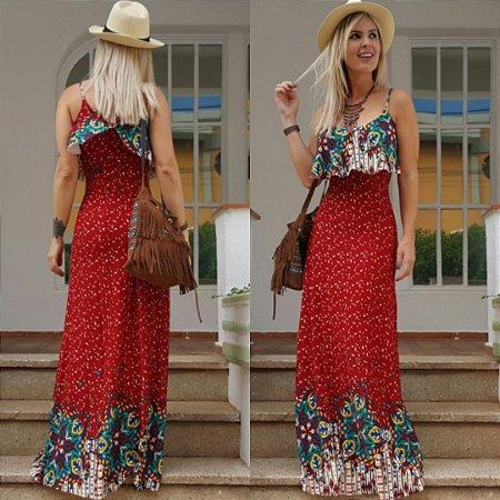 Vestido longo estampado red flower