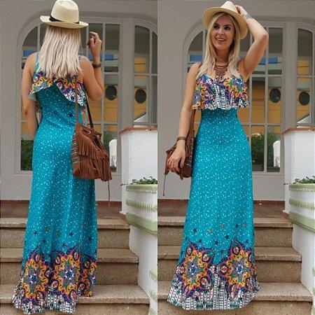 Vestido longo estampado turquesa flower