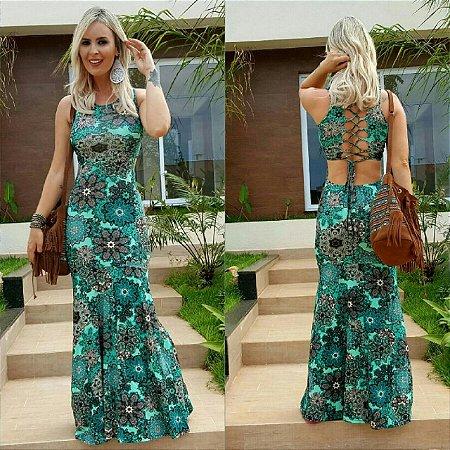 Vestido longo com estampa floral verde e amarração nas costas