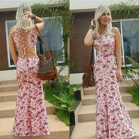 Vestido longo com estampa floral rosê e amarração nas costas