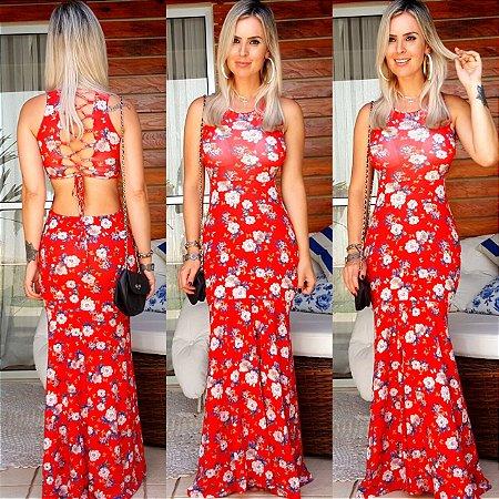 Vestido longo divino vermelho verão