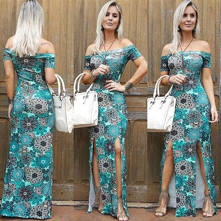 Vestido longo com estampa verde maravilhosa florida