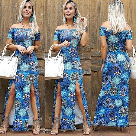 Vestido longo com recorte lateral e estampa azul