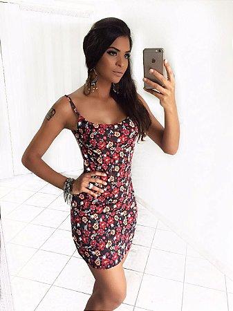 Vestido curto com decote divo nas costas e estampa floral vermelho e preta