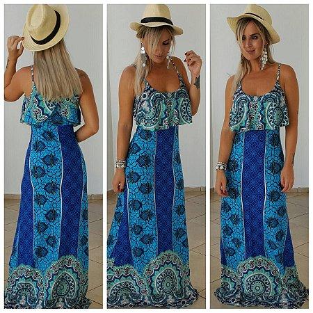 Vestido longo babado com estampa azul divina