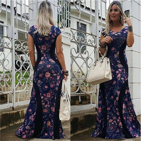 Vestido longo blue carbon com estampa divina