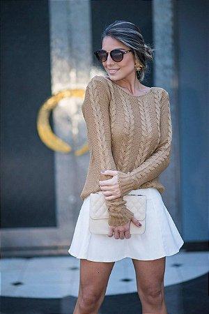 Blusa em tricot com trabalho maravilhoso