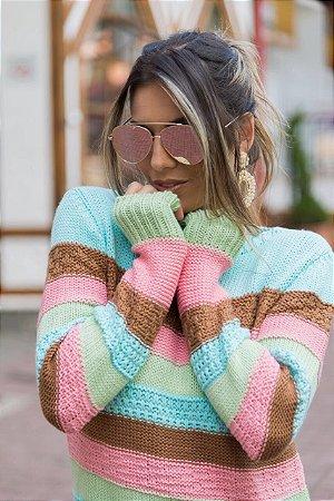 Blusa em tricot listrada color