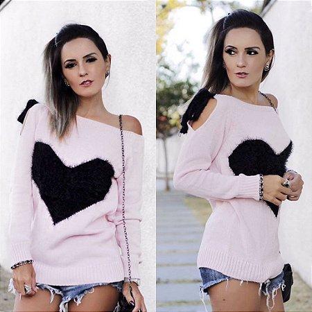 Blusa em tricot rose com coração black