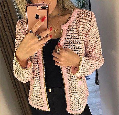 Casaquinho em tricot e lurex rose