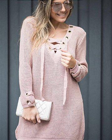 Blusa em tricot rosê com ilhós