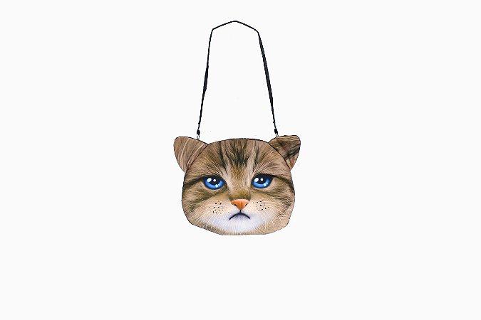 Bolsa em tecido com estampa do gatinho