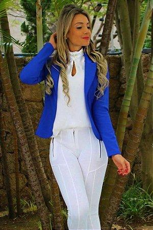 Blazer maravilhoso em neoprene na cor azul