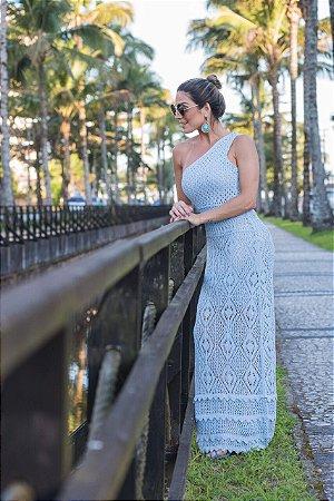 Vestido em tricot azul com uma alça simplesmente divino