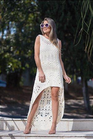 Vestido em tricot saidinha de praia offwhite