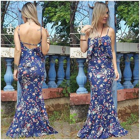 Vestido babado sereia maravilhoso azul