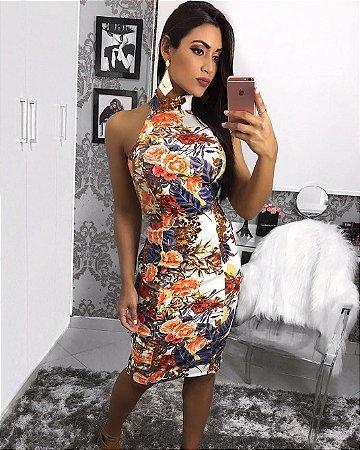 Vestido midi floral com decote nas costas lindíssima