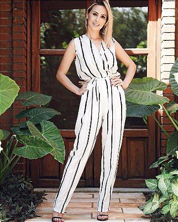 Macacão striped white com cordão