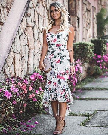 Vestido deusa com estampa de rosas