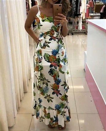 Vestido floral com detalhes de babadinho