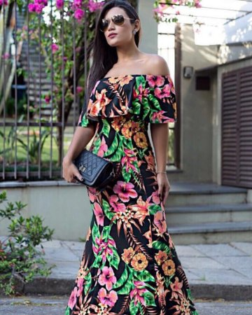 Vestido longo floral com babadinho