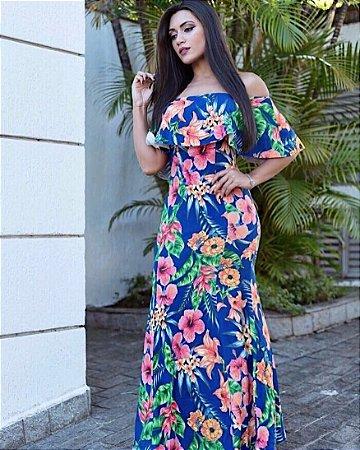 Vestido longo floral com babadinho azul