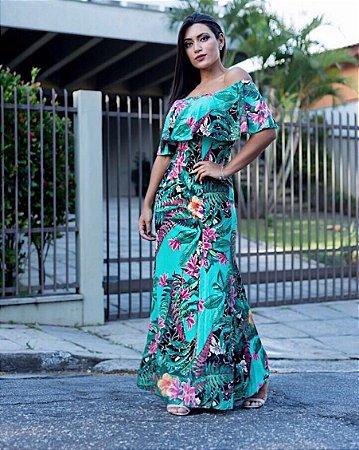 Vestido longo floral com babadinho green